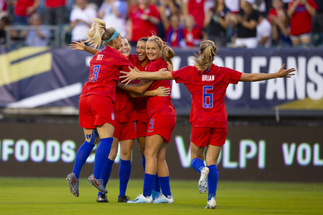 Nearly 50,000 fans attended the USWNT's friendly against Portugal on Thursday night in Philadelphia, setting a new team record. (Mitchell Leff/Getty Images)