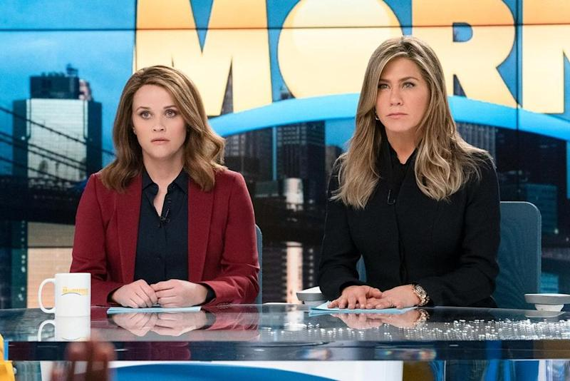The Morning Show's Reese Witherspon (left) and Jennifer Aniston. | Hilary B Gayle/Apple