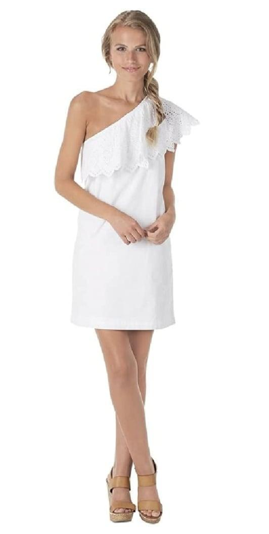 <p>Pair this <span>Mud Pie Poplin One-Shoulder Dress</span> ($29-$39) with platform sandals, and take it on your next park walk.</p>
