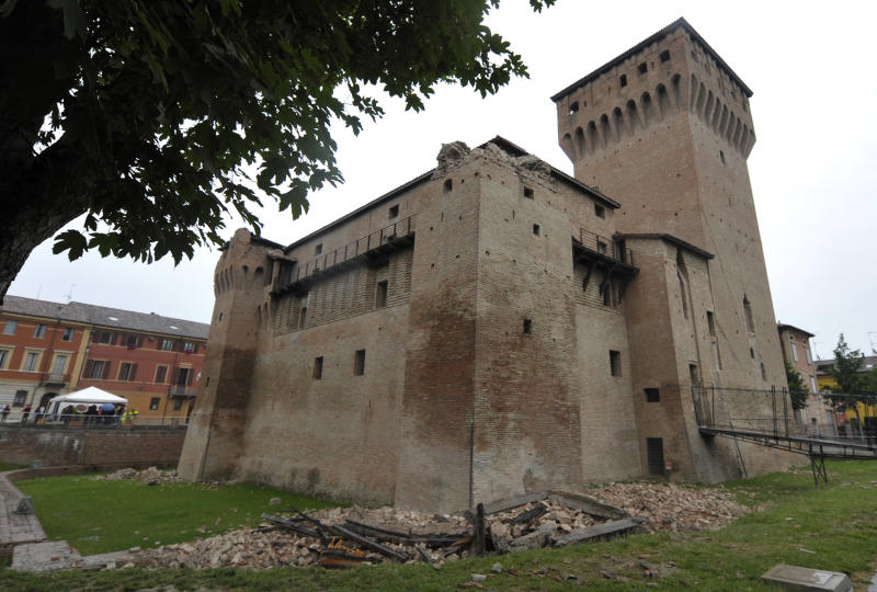 The Rocca Estense damaged by the quake is seen in San Felice Panaro, northern Italy, Sunday, May 20, 2012. A magnitude-6.0 earthquake shook northern Italy early Sunday. The quake struck at 4:04 a.m. Sunday between Modena and Mantova, about 35 kilometers (22 miles) north-northwest of Bologna at a relatively shallow depth of 10 kilometers (6 miles), the U.S. Geological Survey said. (AP Photo/Marco Vasini)