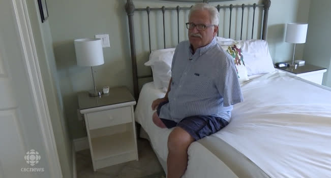 Stearn Hodge lost his leg and arm in a work accident and cannot get around without an electronic scooter. (Photo: Courtesy of CBC)