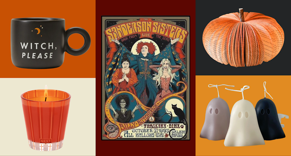 collage of halloween home decor including a witch mug, orange candle, sanderson sisters poster, book pumpkin, and ghost candles