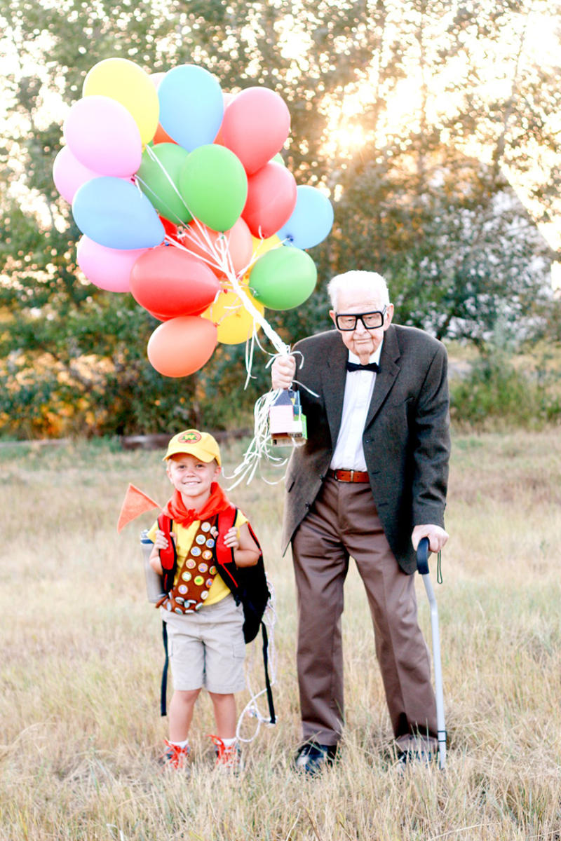 young boy with his great grandpa, dress as UP characters