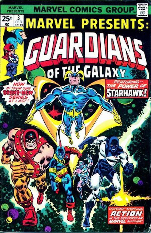 Starhawk (top) is flanked by fellow Guardians (from left) Charlie-27, Yondu, Martinex, and Vance Astro, who didn't make the <em>Vol. 2</em> cameo parade. (Credit: Marvel Comics)