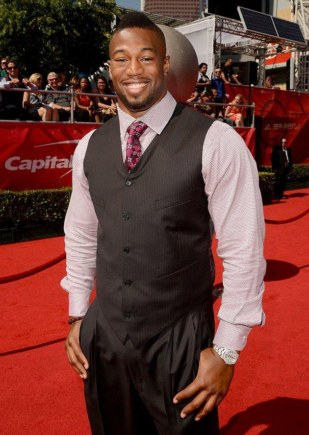 Ray Edwards, defensive end for the Atlanta Falcons, arrives at the 2012 ESPY Awards.