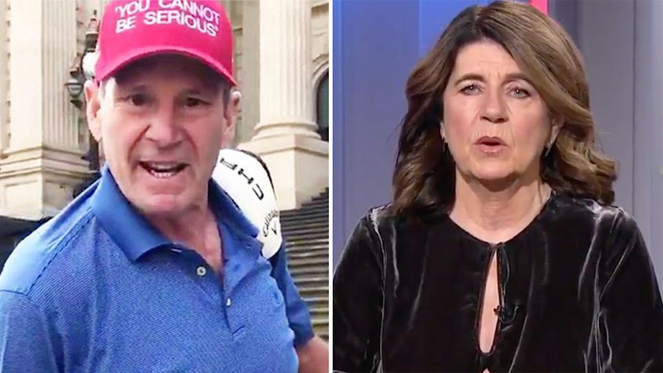Pictured right, AFL journalist Caroline Wilson and footy identity Sam Newman.