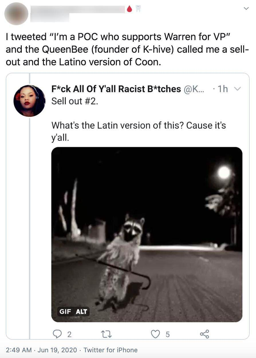 """Delarosa tweeted an image of a raccoon with the caption: """"What's the Latin version of this? Cause it's y'all."""" """"Coon,"""" when used by white people, is a derogatory term for Black people; when used by other people of color, it's often defined as a Black person who is ignorant of white supremacy. (Photo: Twitter)"""