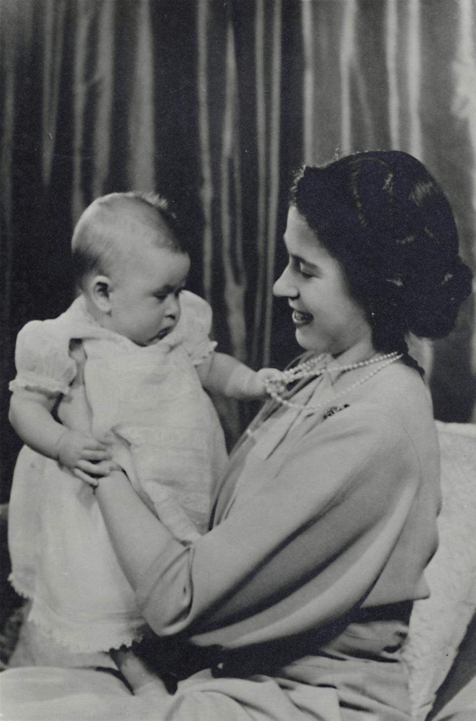 Then-Princess Elizabeth and Prince Charles in 1948.