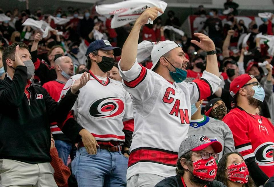 Carolina Hurricanes fans reacts to a penalty against the Hurricanes in the first period against Nashville in their first round Stanley Cup series game on Monday, May 17, 2021 at PNC Arena in Raleigh, N.C.