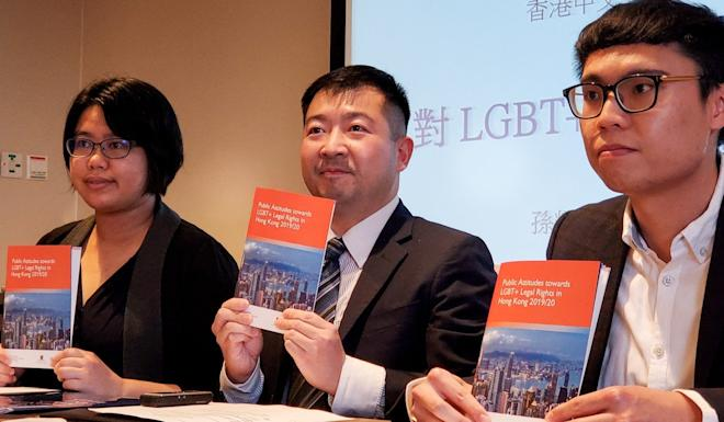 Suen Yiu-tung (centre) said the survey results disproved the claim that many people in Hong Kong still oppose anti-discrimination protections for the LGBT community. Photo: Chris Lau