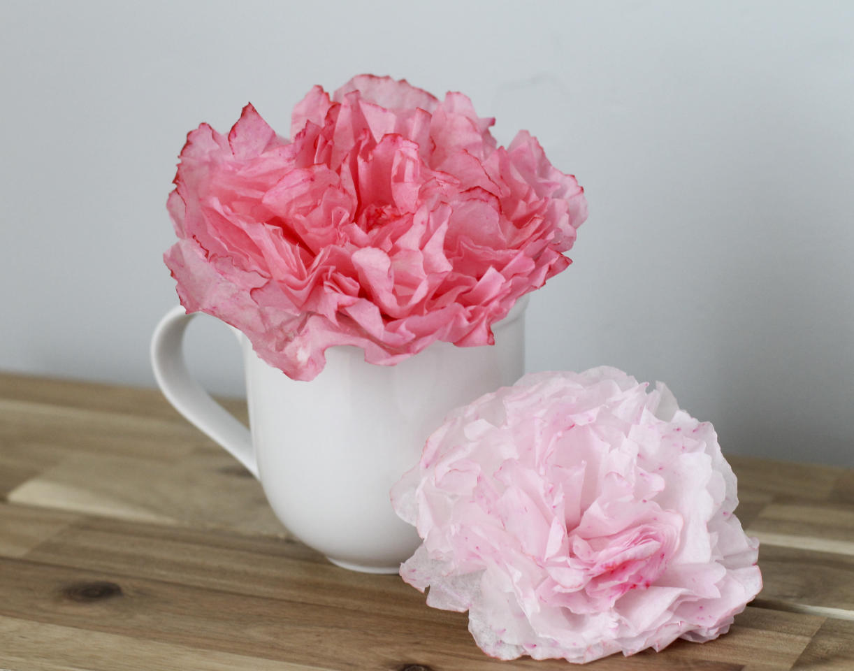 ADDS LOCATION - This May 8, 2016 photo shows peonies made out of coffee filters in Concord, N.H. This technique was easy and inexpensive, though messy because it involves dunking the finished flowers in diluted food coloring to dye them. (AP Photo/Holly Ramer)