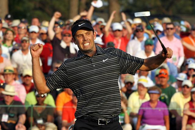 """<h1 class=""""title"""">The Masters - Final Round</h1> <div class=""""caption""""> AUGUSTA, GA - APRIL 10: Charl Schwartzel of South Africa celebrates his two-stroke victory on the 18th green during the final round of the 2011 Masters Tournament at Augusta National Golf Club on April 10, 2011 in Augusta, Georgia. (Photo by Jamie Squire/Getty Images) </div> <cite class=""""credit"""">Jamie Squire</cite>"""
