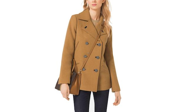 "<p>Wool blend pea coat, $102, <a href=""https://www.michaelkors.com/product/wool-blend-peacoat/_/R-US_77C2822M12?ecid=MKC_Polyvore_US&gclid=CPGivpjU_dgCFQvQswodsxAFmg&gclsrc=ds"" rel=""nofollow noopener"" target=""_blank"" data-ylk=""slk:michaelkors.com"" class=""link rapid-noclick-resp"">michaelkors.com</a> </p>"