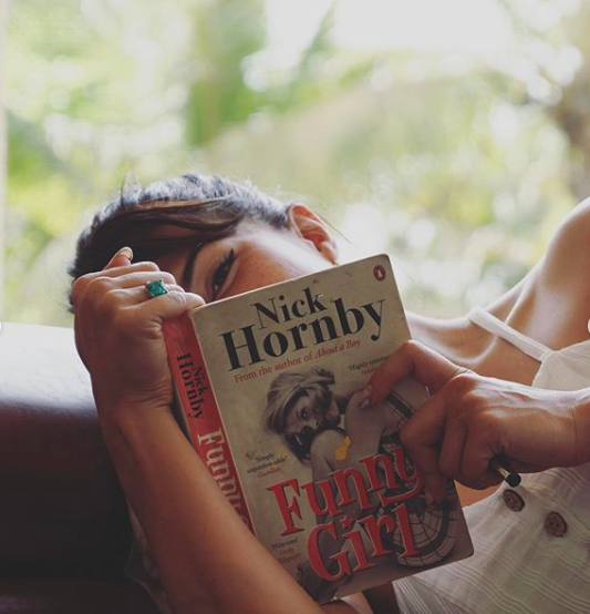 Jacqueline Fernandez posted a picture of her reading <strong>Funny Girl by Nick Hornby</strong>
