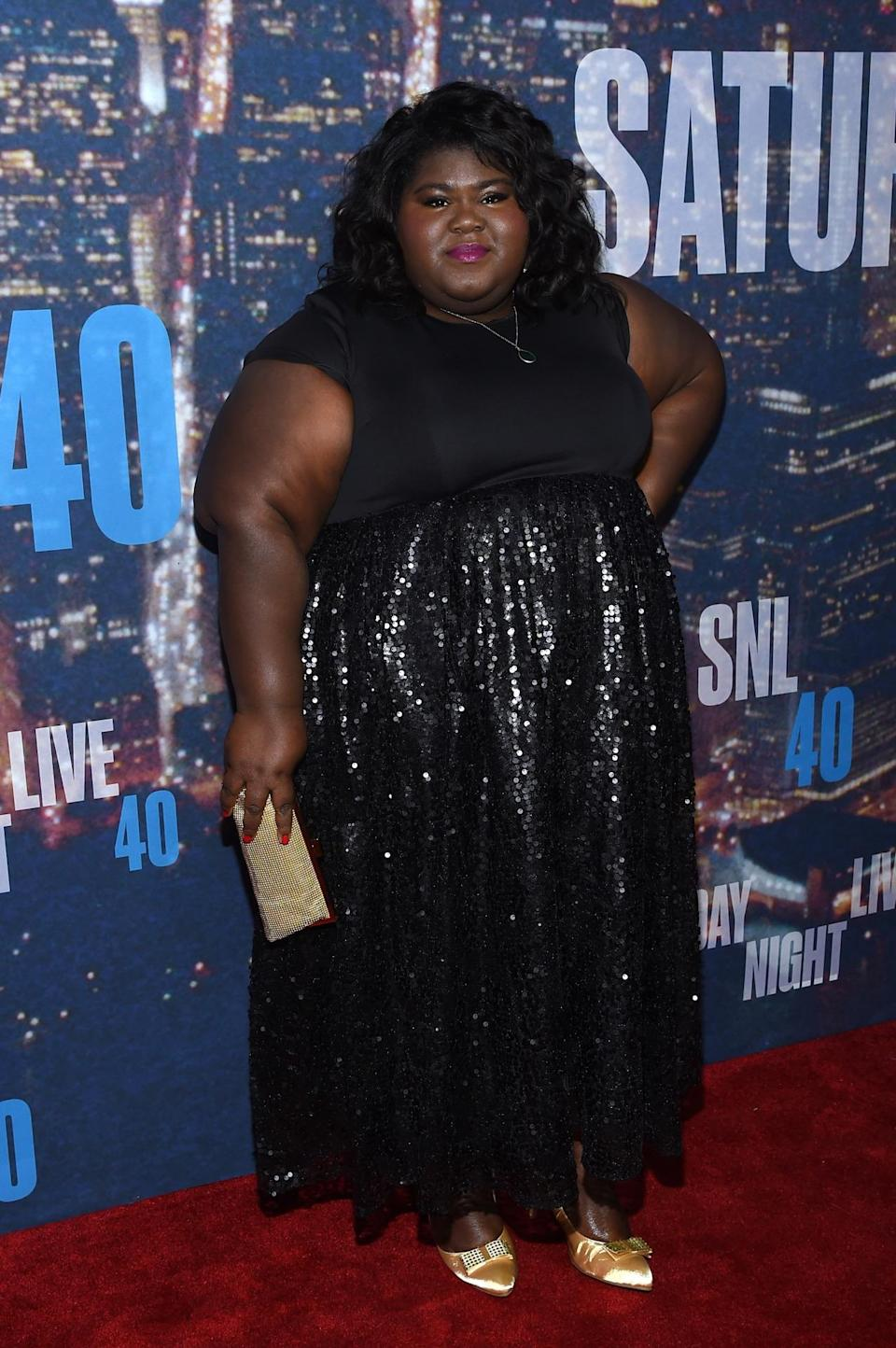 Sequins always make a party more fun and Gabourey Sidibe has them in spades.