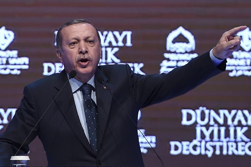 """Turkish President Recep Tayyip Erdogan has accused Germany of """"Nazi practices"""" for blocking his ministers from speaking (AFP Photo/Ozan KOSE)"""