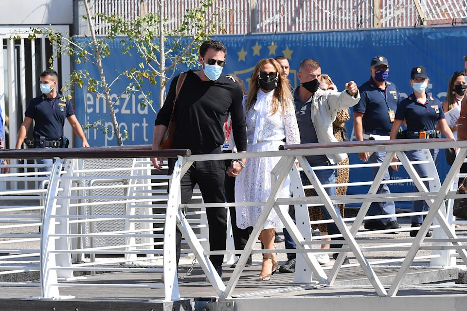 VENICE, ITALY - SEPTEMBER 09: Ben Affleck and Jennifer Lopez arrive at the 78th Venice International Film Festival on September 09, 2021 in Venice, Italy. (Photo by Jacopo Raule/Getty Images)
