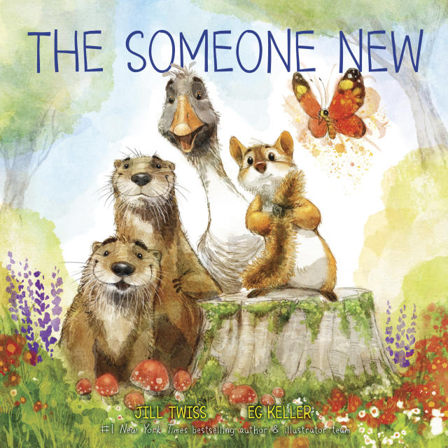 """This cover image released by HarperCollins Children's Books shows """"The Someone New,"""" a parable about welcoming outsiders, by Jill Twiss and illustrator EG Keller, scheduled for release on June 4. The story tells of a forest in which a chipmunk worries that the entrance of a snail will ruin the world he knows. The publisher will donate some proceeds to a charity aiding immigrant children. (HarperCollins Children's Books via AP)"""