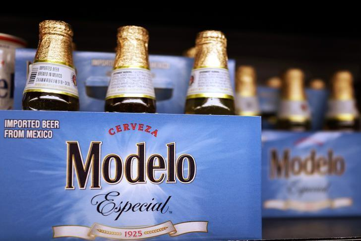 Bottles of the beer, Modelo, a brand of Constellation Brands Inc., sit on a supermarket shelf in Los Angeles