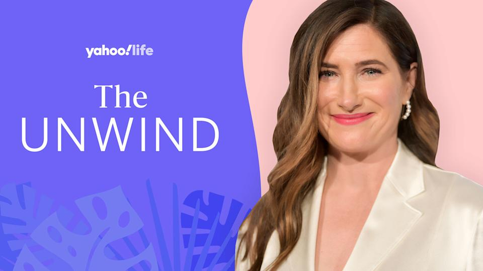 Kathryn Hahn says meditating, stretching and having clean, orderly space are key to her mental health. (Photo: Getty Images; designed by Quinn Lemmers)