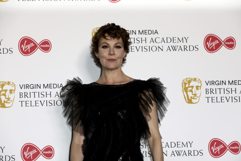 Actress Helen McCrory poses for photographers after appearing at the 2019 BAFTA Television Awards in London, Sunday, May 12, 2019.(Photo by Grant Pollard/Invision/AP)
