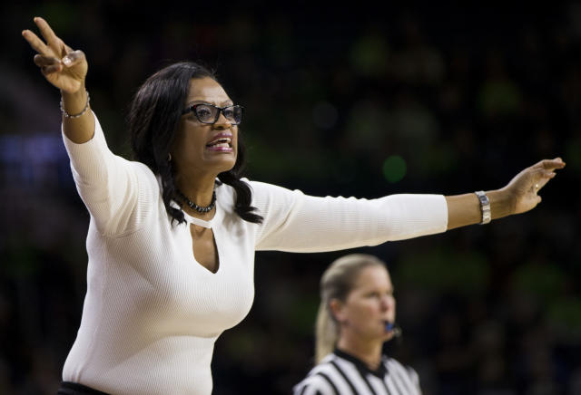Clemson head coach Audra Smith yells to her team during the first half of an NCAA college basketball game against Notre Dame Sunday, Jan. 21, 2018, in South Bend, Ind. (AP Photo/Robert Franklin)