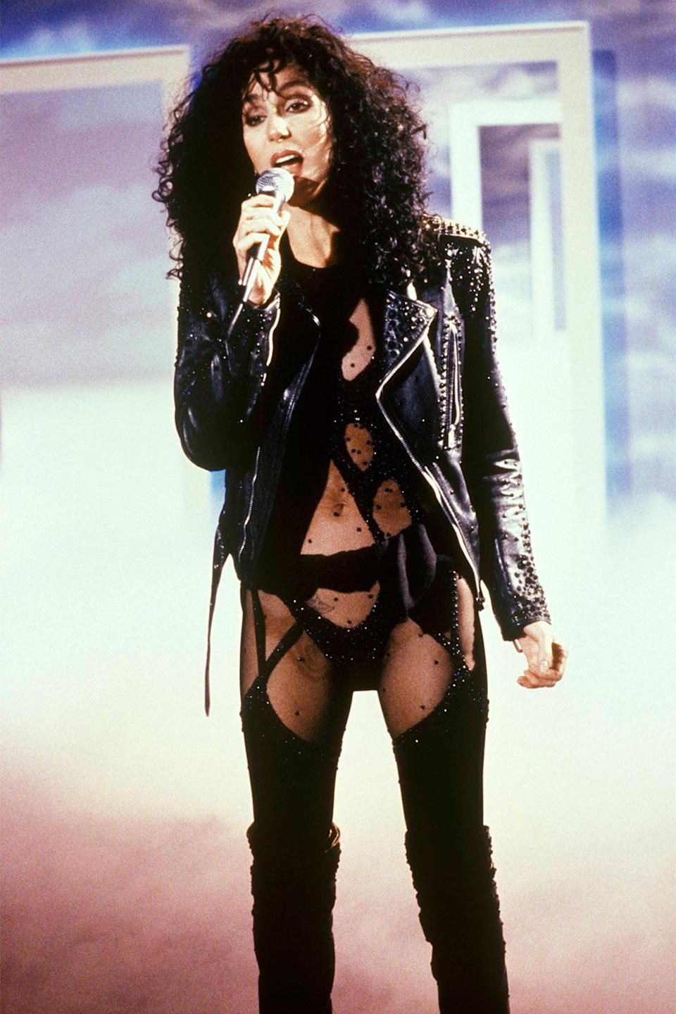<p>In 1987, Cher performed in this barely there leotard and leather jacket and we have never been the same. </p>