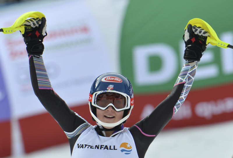 United States' MikaelaShiffrin celebrates after the second run of the women's slalom at the Alpine skiing world championships in Schladming, Austria, Saturday, Feb. 16, 2013. Shiffrin won the gold medal. (AP Photo/Kerstin Joensson)