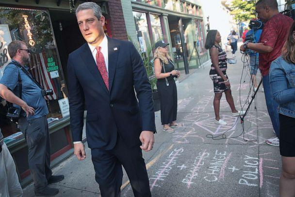 PHOTO: Democratic presidential candidate and Ohio congressman Tim Ryan visits the Oregon District following a mass shooting, Aug. 5, 2019, in Dayton, Ohio. (Scott Olson/Getty Images)