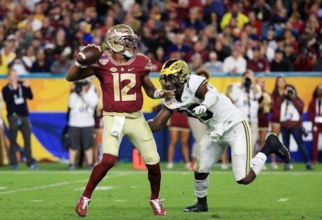 "Florida State QB <a class=""link rapid-noclick-resp"" href=""/ncaaf/players/256791/"" data-ylk=""slk:Deondre Francois"">Deondre Francois</a> is the best returning quarterback in the ACC. (Getty)"