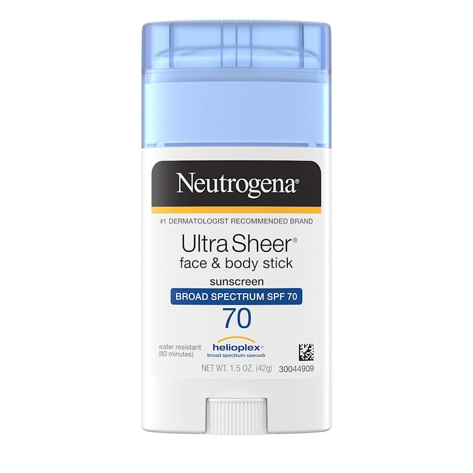 """<h2>Neutrogena Ultra Sheer Non-Greasy Sunscreen Stick SPF 70</h2> <br>Chichi Offor pointed readers in the cart direction of this <a href=""""https://www.refinery29.com/en-us/what-to-buy-with-100-dollars"""" rel=""""nofollow noopener"""" target=""""_blank"""" data-ylk=""""slk:under-$100 sunscreen MVP"""" class=""""link rapid-noclick-resp"""">under-$100 sunscreen MVP</a> that offers residue-free protection from harmful UVA and UVB rays. """"It's not messy and super easy to apply. There's also no white cast residue after application!"""" she shared.<br><br><em>Shop <strong><a href=""""https://amzn.to/3wScrSp"""" rel=""""nofollow noopener"""" target=""""_blank"""" data-ylk=""""slk:Amazon"""" class=""""link rapid-noclick-resp"""">Amazon</a></strong></em><br><br><strong>Neutrogena</strong> Ultra Sheer Non-Greasy Sunscreen Stick, SPF 70, $, available at <a href=""""https://amzn.to/2RytERX"""" rel=""""nofollow noopener"""" target=""""_blank"""" data-ylk=""""slk:Amazon"""" class=""""link rapid-noclick-resp"""">Amazon</a>"""