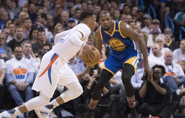 "After a year of tension, the relationship between <a class=""link rapid-noclick-resp"" href=""/nba/players/4244/"" data-ylk=""slk:Kevin Durant"">Kevin Durant</a> and <a class=""link rapid-noclick-resp"" href=""/nba/players/4390/"" data-ylk=""slk:Russell Westbrook"">Russell Westbrook</a> is back in a good place. (Photo by J Pat Carter/Getty Images)"