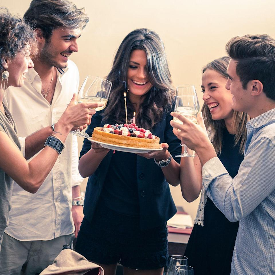 "<p>Families that only see each other once a year, this one's for you. Emma Seymour of the <em>Good Housekeeping</em> textiles lab says her family <a href=""https://www.goodhousekeeping.com/life/g27375104/what-do-i-want-for-my-birthday/"" rel=""nofollow noopener"" target=""_blank"" data-ylk=""slk:sings Happy Birthday"" class=""link rapid-noclick-resp"">sings Happy Birthday</a> when they gather for Thanksgiving — cake with candles included! That way, everyone gets to celebrate their birthday with those they love, even if they can't travel to be together on the actual day. </p>"