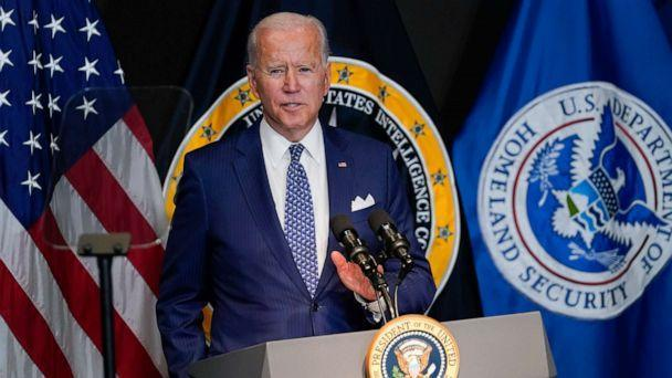 PHOTO: President Joe Biden speaks during a visit to the Office of the Director of National Intelligence in McLean, Va., July 27, 2021. (Susan Walsh/AP)