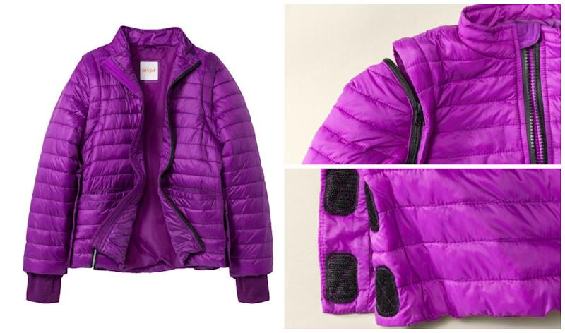 This puffer jacket has Velcro side seams, which makes it easier to put on and take off. This could be beneficial for kids who spend a lot of time sitting down or have difficulty with gross or fine motor skills.