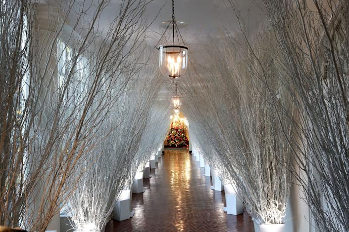 Christmas decorations in a hallway of the East Wing of the White House during a press preview of the 2017 holiday decorations November 27, 2017 in Washington, DC. (Photo by Alex Wong/Getty Images) | Alex Wong—Getty Images