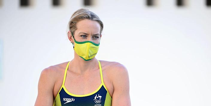 Madi Wilson looks on during a Covid Mask Familiarisation Rehearsal Day as part of the Australian Dolphins Swimming Team Camp ahead of the Tokyo 2020 Olympic Games Tobruk Pool on July 13, 2021, in Cairns, Australia.