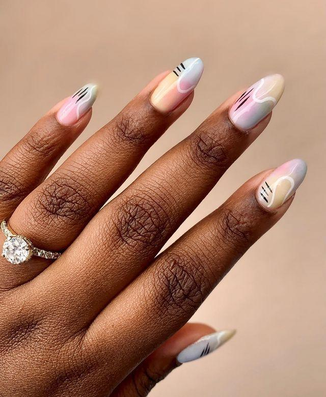 """<p>Contrast dreamy pastels with graphic lines for nail art that would look at home at the Tate.</p><p><a href=""""https://www.instagram.com/p/COVv2UjM6aM/"""" rel=""""nofollow noopener"""" target=""""_blank"""" data-ylk=""""slk:See the original post on Instagram"""" class=""""link rapid-noclick-resp"""">See the original post on Instagram</a></p>"""