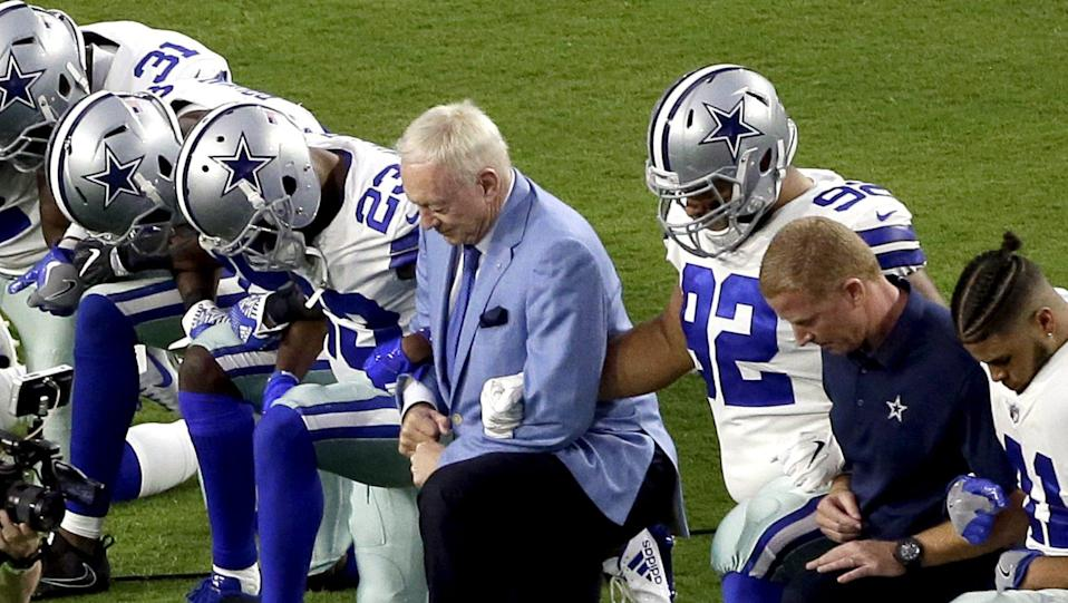 Jerry Jones said his players will stand for the anthem, or else. (AP)