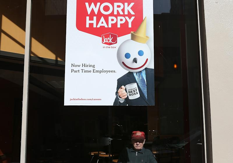 SAN FRANCISCO, CA - FEBRUARY 07:  A sign advertising jobs is posted in the window of a Jack in the Box restaurant on February 7, 2013 in San Francisco, California. According to a Labor Department report, weekly jobless claims dropped 5,000 to 366,000 in the week ending on February 2.  (Photo by Justin Sullivan/Getty Images)