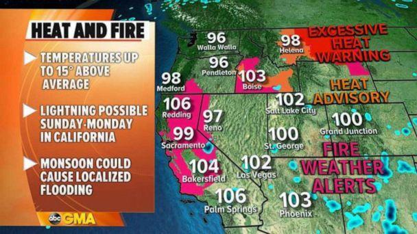 PHOTO: Heat and Fire weather map (ABC News)