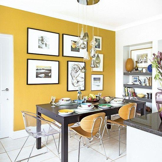 "<p>Mustard yellow may seem like the last colour you would want on a wall. However, it can really help to make a room feel like a happy and light place.<a rel=""nofollow"" href=""http://www.housetohome.co.uk/kitchen/picture/smart-modern-kitchen-diner-with-mustard-yellow-feature-wall?room_style=modern""> [Photo: David Giles}</a> </p>"