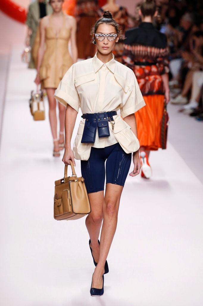 Model Bella Hadid walks the Fendi spring-summer 2019 show during Milan Fashion Week on Sept. 20. (Photo: Getty Images)