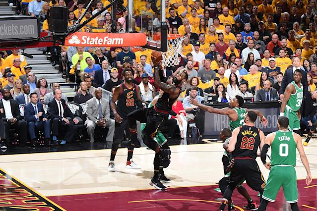 LeBron James once again did LeBron James things Monday night in Game 4. (Getty)