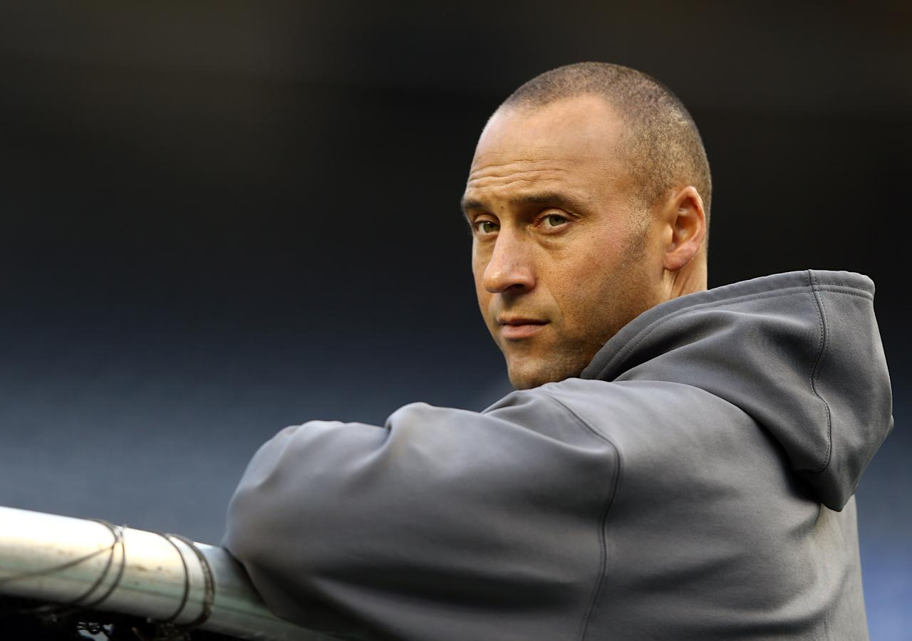NEW YORK, NY - OCTOBER 10:  Derek Jeter #2 of the New York Yankees looks on prior to Game Three of the American League Division Series against the Baltimore Orioles at Yankee Stadium on October 10, 2012 in the Bronx borough of New York City.  (Photo by Al Bello/Getty Images)