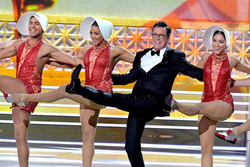 Host Stephen Colbert (2nd from R) performs onstage during the 69th Annual Primetime Emmy Awards at Microsoft Theater on Sept. 17, 2017 in Los Angeles, California.