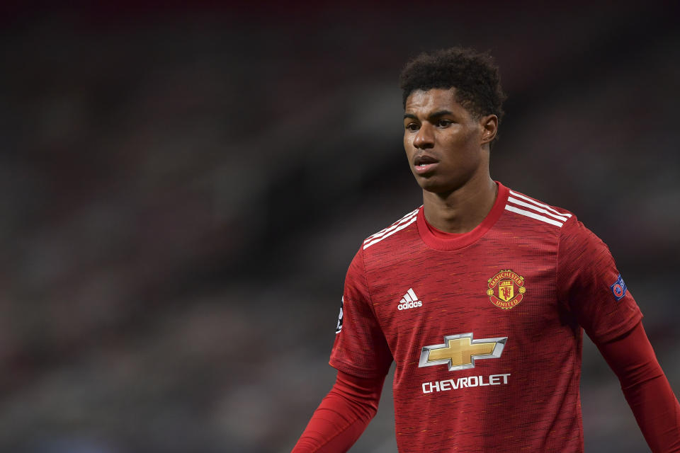 MANCHESTER, ENGLAND - OCTOBER 28: (BILD ZEITUNG OUT) Marcus Rashford of Manchester United looks on during the UEFA Champions League Group H stage match between Manchester United and RB Leipzig at Old Trafford on October 28, 2020 in Manchester, United Kingdom. Sporting stadiums around the UK remain under strict restrictions due to the Coronavirus Pandemic as Government social distancing laws prohibit fans inside venues resulting in games being played behind closed doors. (Photo by Vincent Mignott/DeFodi Images via Getty Images)