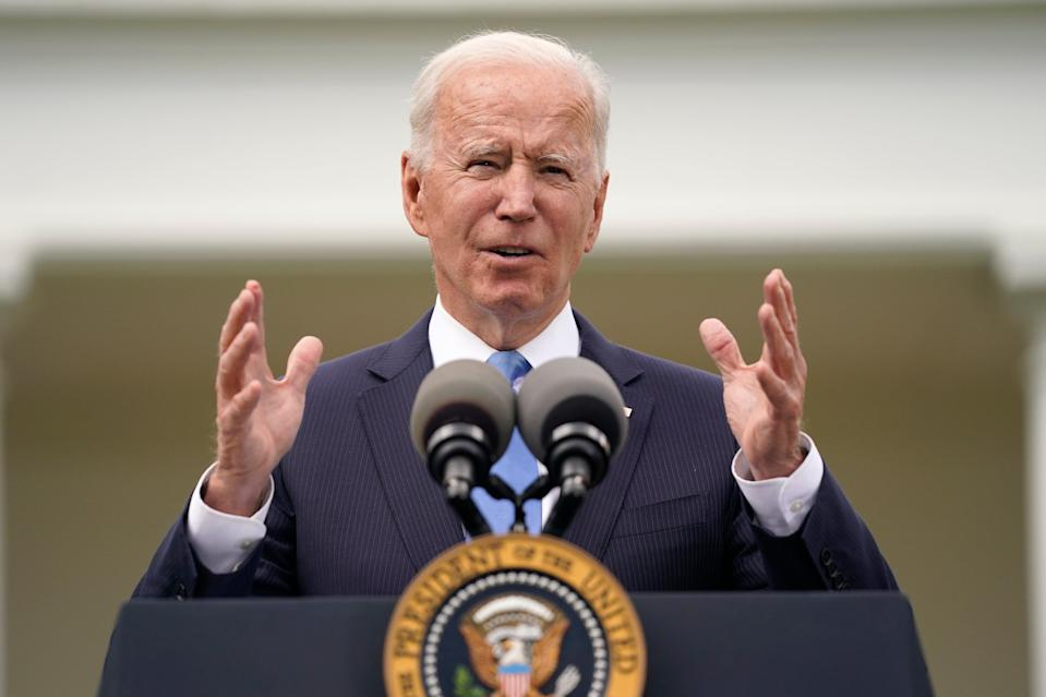 <p>President Joe Biden speaks on updated guidance on face mask mandates and Covid-19 response, in the Rose Garden of the White House, Thursday, 13 May 2021, in Washington</p> (AP Photo/Evan Vucci)