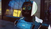 A Promobot robot that informs the public about the symptoms of coronavirus and how to prevent it from spreading, stands in Times Square in this still frame obtained from video, in New York City