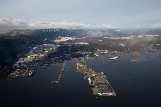 Douglas Channel, the proposed termination point for an oil pipeline in the Enbridge Northern Gateway Project, is pictured in an aerial view in Kitimat, B.C., on Tuesday January 10, 2012. THE CANADIAN PRESS/Darryl Dyck